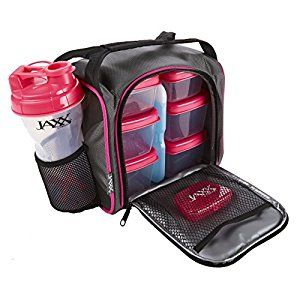 Amazon.com: Jaxx FitPak with Portion Control Container Set, Reusable Ice Pack, and Shaker Cup (Black/Pink): Kitchen & Dining