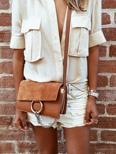 White short and blouse + camel purse! #travel #style