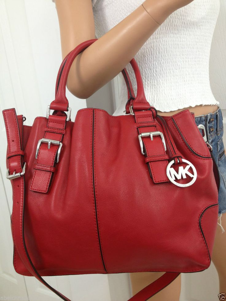 Michael Kors Red Brookville Large Drawstring Leather Crossbody Tote Bag Purse