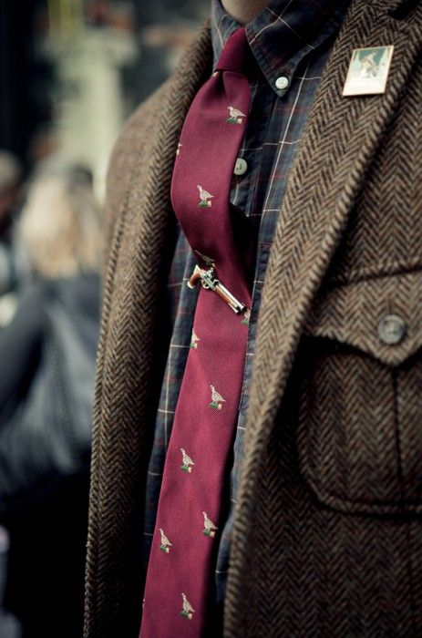 shooting birds men style tweed prep preppy tie clip