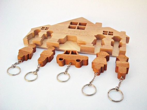 Housekeeper Wooden Keychains Gift for Her by WoodenGiftsCreations
