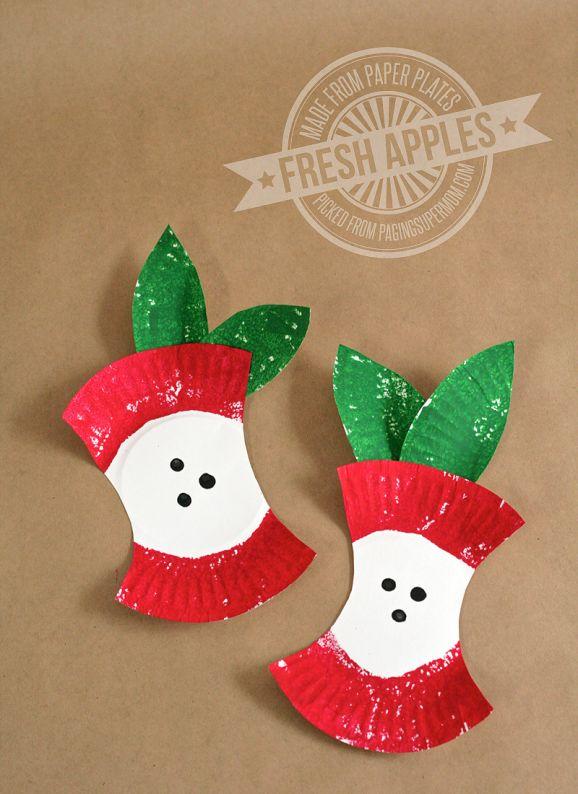Mini Paper Plate Apples #preschool #applecraft #backtoschool #fall #apples