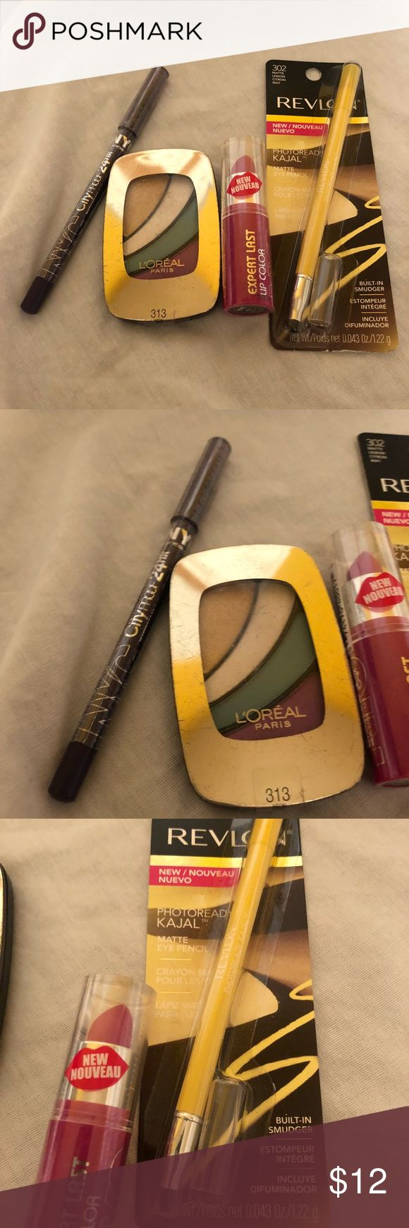 Colorful Makeup Bundle - New All new and unopened.  Includes: Revlon Matte Eye Pencil in Lemon (302) NYC Waterprood Eyeliner Pencil in Smokey Plum (934) L'Oreal Eye Shadow In Neon Skirt (313) NYC Lip Color in Blue Rose (405) NYC Makeup