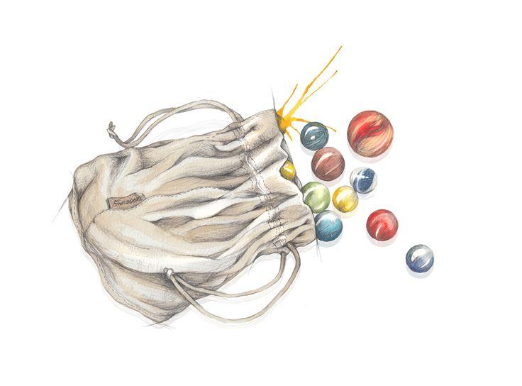 """Klinkekuler"" (Marbles)  Copyright: Emmeselle.no   illustration by Mona Stenseth Larsen"