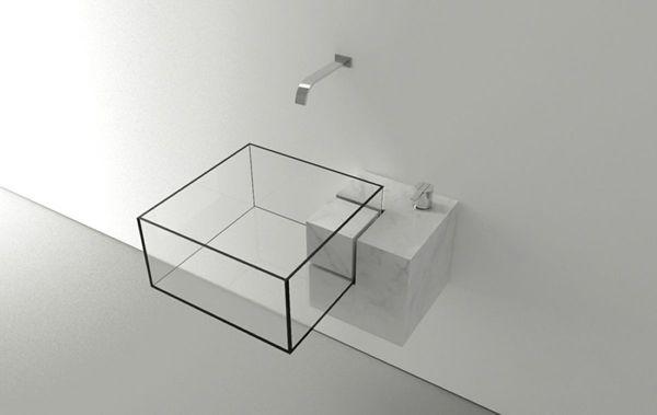 透明で栓がない!? 浮いているみたいな斬新なデザインの洗面台 – Minimalist Kub Basin   STYLE4 Design