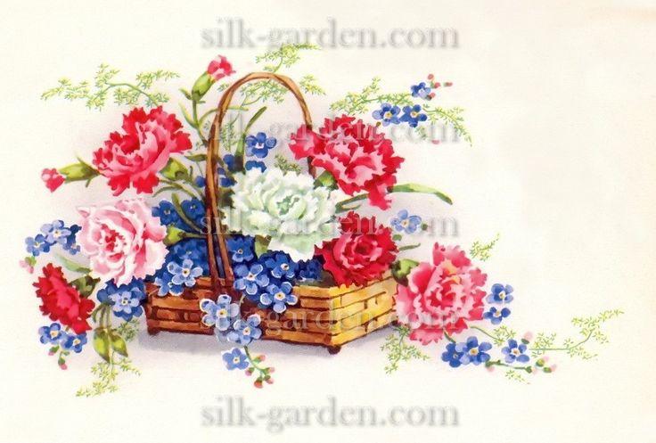 Принт Маленький букет РО-Б-85 (ткань с рисунком) для вышивания лентами - купить по низкой цене в магазине Шелковый сад