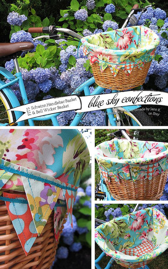 Turquoise Tropics Bike Basket Liner For by BlueSkyConfections