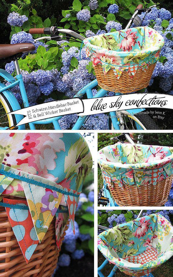Turquoise Tropics Bike Basket Liner via Etsy