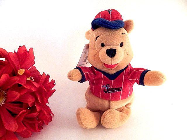 "Winnie the Pooh Stuffed Animal Mini Bean Bag Disney Baseball Pooh 8"" Toy Collectible Disneyana Baby Boy's Room Decor"