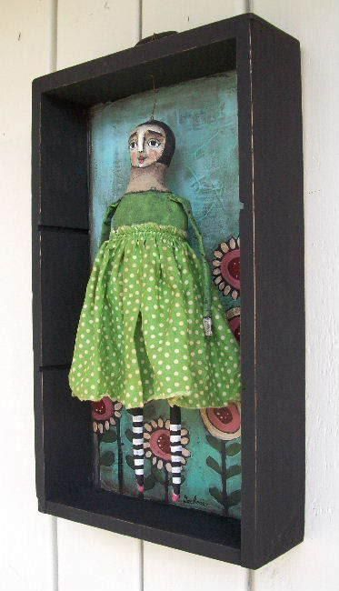 love the background flowers doll with striped legs and polka dot dress by jane spakowsky gritty jane