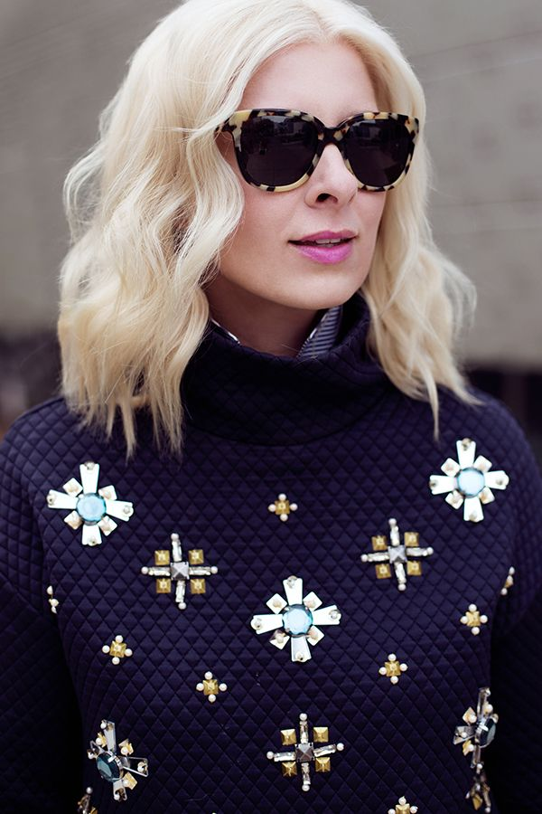 Dress up your workday wear or warm up your evening attire with a fashion sweater. This stylish statement piece, with bold beading, is a fabulous look no matter what the occasion. This treasure will become a closet staple for seasons to come!