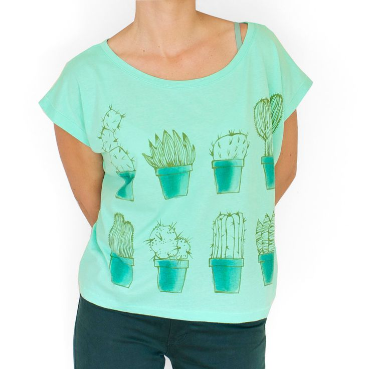 CACTUS. 100% organic cotton. Hand painted. Mint green oversized crop top. Cactus tee. Unique t shirts. Womens t shirt. by Smukie on Etsy