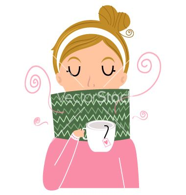 Beautiful girl holding tea vector