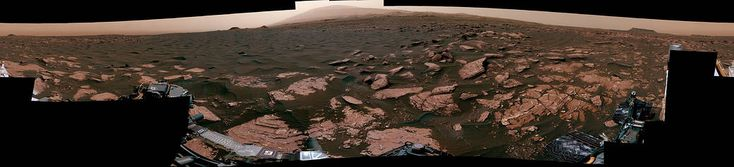 Panorama with Active Linear Dune in Gale Crater, Mars:    360-degree scene from the Mastcam on NASA's Curiosity Mars rover