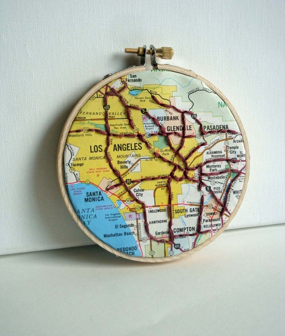 LA Map Art in Hoop with Embroidery by yinsteadofi on Etsy, $18.00