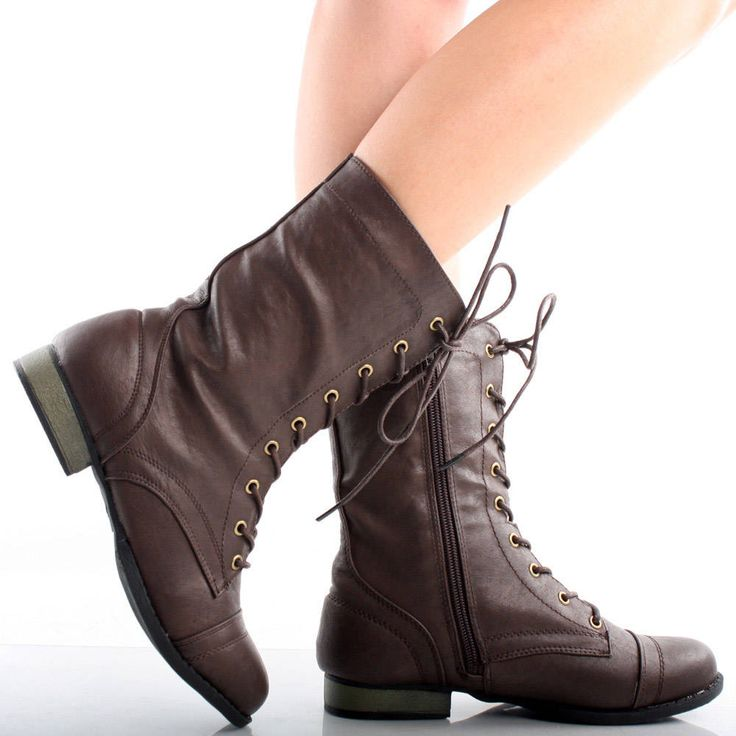 brown toe lace up combat army womens flat