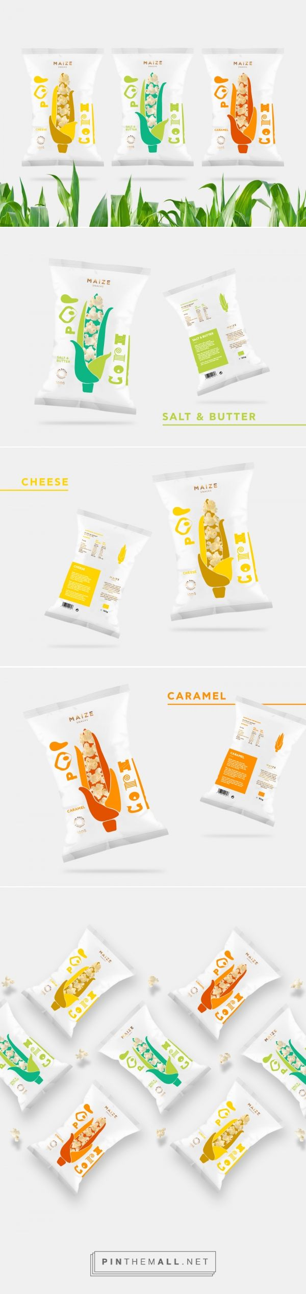 Maize popcorn snacks packaging design concept by Gabriela Dule - http://www.packagingoftheworld.com/2017/03/maize-snacks-concept.html