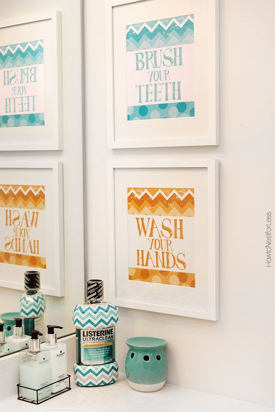 FREE chevron bathroom printables inspired from the new Listerine bottles. Different versions to grab too! #ad #ListerineDesign