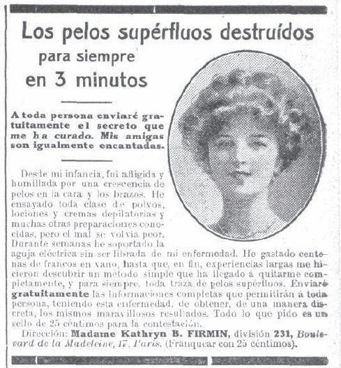 Pelos superfluos. Año 1912