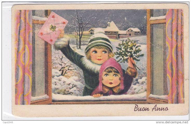 CARD  BERTIGLIA   BUON ANNO BIMBI NEVE LETTERA VISCHIO (COME DA SCANNER)      -FP-V-2---0882-14213
