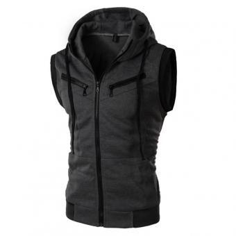 Mangas del chaleco de los hombres de la capilla sudadera Jumper Abrigo Outwear la capa de la chaqueta informal