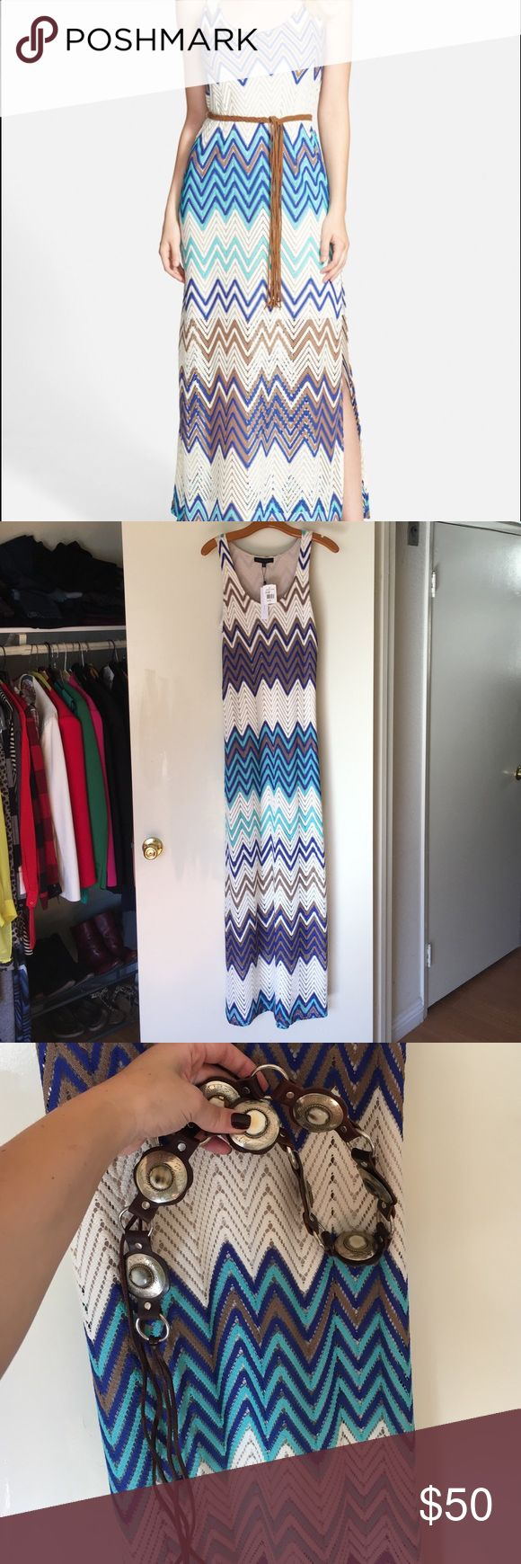 Island Maxi So cute form fitting maxi with sheer component from knee down. Comes w upgraded Belt and NWT!!!! Out of stock on Nordstrom and Bloomingdales. Final price. Excellent condition. Sanctuary Dresses Maxi
