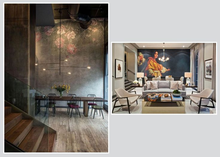 Whether your style is industrial or transitional, murals can break up open space with subtlety or drama!