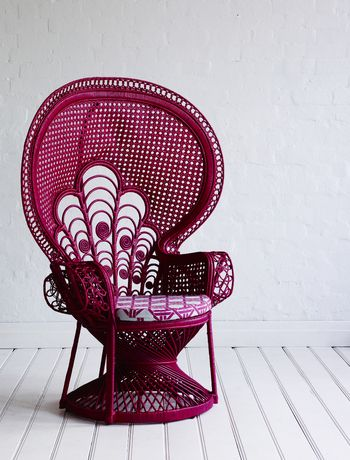 raspberry peacock chair