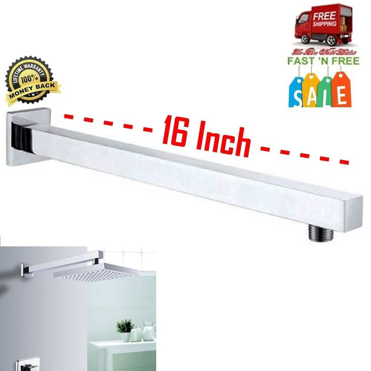Arm Shower Component Component Polished Chrom Square Tube Extension Bathroom Too #Kes