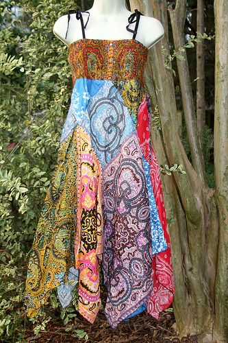 I like the skirt (I would definitely use a bodice with sleeves). Would be easy to make the skirt width bandana-size squares of fabric...