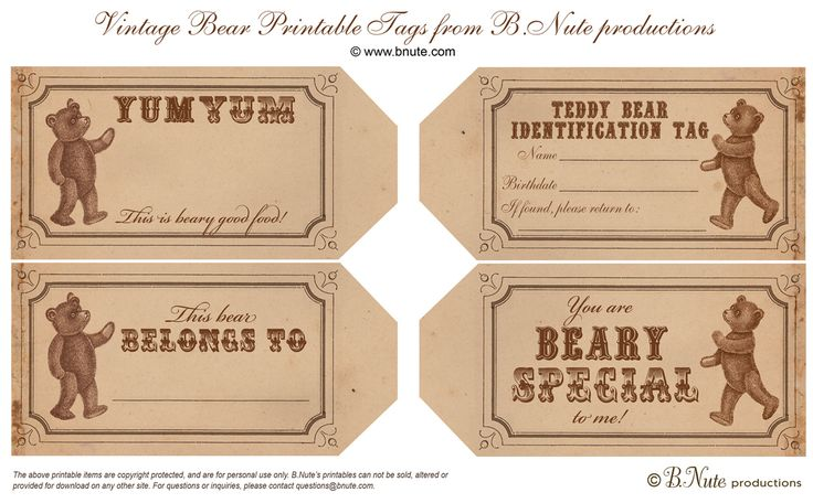 bnute productions: Free Printable Vintage Teddy Bear Tags and Teddy Bear Party Ideas