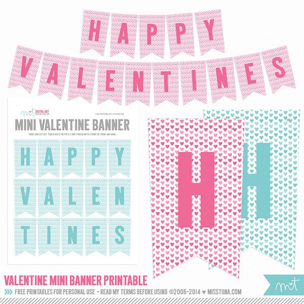 FREE Valentine's Printable Day 13 - Printable Valentine's Mini Banner {pink and blue both included}