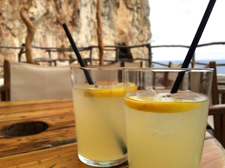 Pomada at Cova d'en Xoroi. The drink is a Menorcan speciality.
