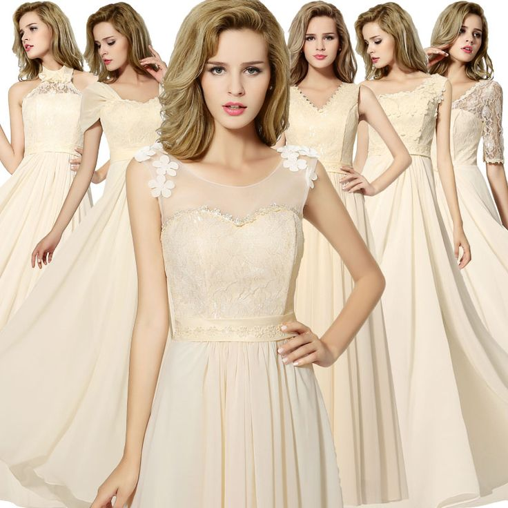 Find More Bridesmaid Dresses Information about Mismatched Champagne Chiffon A Line Bridesmaid Dresses Long 2017 Sheer Neck Lace up Cheap Prom Party Gowns vestido dama de honor,High Quality vestido chiffon,China gown wedding Suppliers, Cheap gown ball from Honey Qiao Official Store on Aliexpress.com