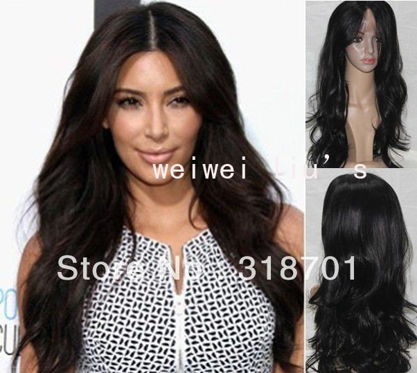 Ким Кардашян Прическа Длинные Волнистые Черные Парик фронта Шнурка Знаменитости Прическа парики шнурка бесплатная доставка