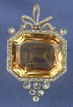 Edwardian Citrine and Diamond Clip Brooch