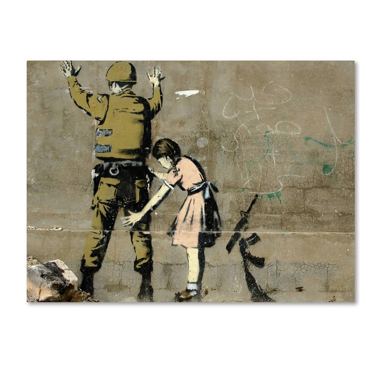 This ready to hang, gallery-wrapped art piece features a photograph of graffiti art depicting a little girl in a pink dress searching a soldier who is facing the wall. Banksy is an English graffiti ar                                                                                                                                                      More