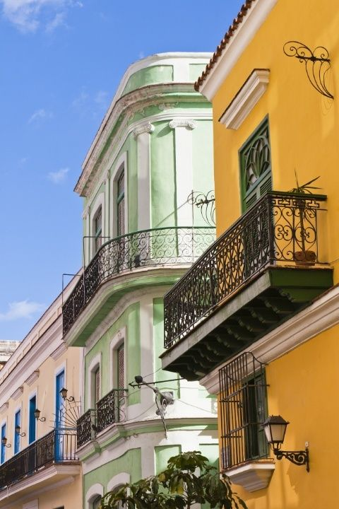 Beautiful rows of colorful houses can be found in Havana, Cuba.