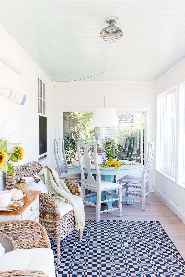 The Colors Of Our Home Finding Silver Pennies Home Easy Fall Decor Sunroom Decorating