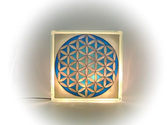 The Flower of Life Mood Lighting Turquiose and Silver Night