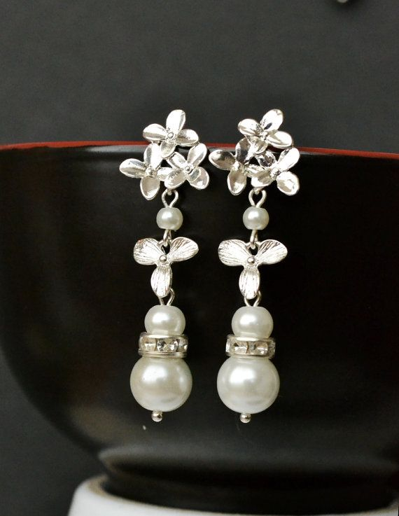 Wedding bridal earrings Pearl bridal by ArtemisBridalJewelry