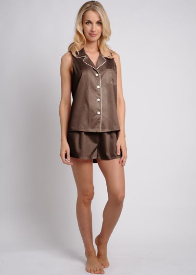 Egyptian Cotton Short Pajama Set - Cocoa, $128. #cottonpajamas #olist #madeintheusa #bestpajamas