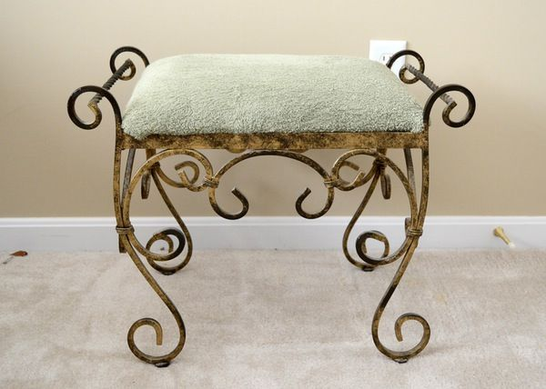 Wrought iron vanity stools for bathroom