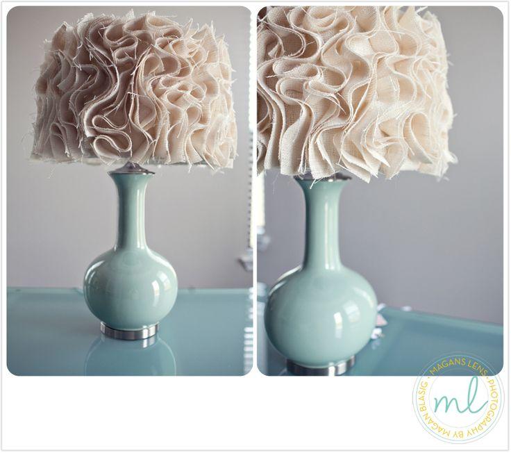 DIY Burlap Lamp Shade: Burlap Lamps Shades, Inspiration Ruffles, Ruffles Burlap, Burlap Lampshade, Diy Lampshades, Anthropologie Inspiration, Green Lamps, Lamps Based, Burlap Lamp Shades