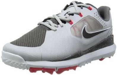 Combination of ventilated mesh, tetra polyurethane and dynamic fly wire uppers on these mens TW 14 mesh high performance golf shoes by Nike provide enhanced breathability and comfort