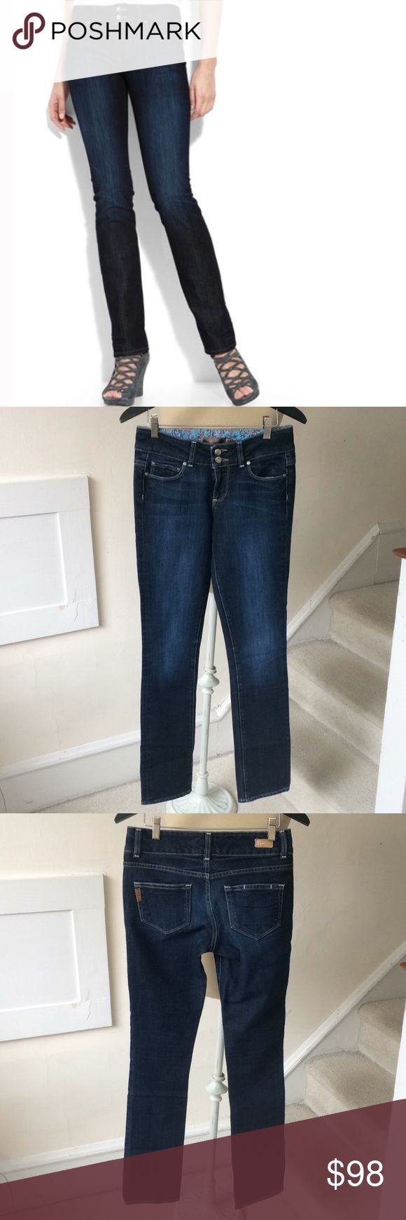 """Paige Denim Hidden Hills Jeans- Charm Wash NWOT Paige Premium Denim """"Hidden Hills"""" jeans in Charm wash. High waist, dark wash stretchy jeans with two buttons at waist and subtle fading through seat and thighs. Straight cut with semi-distressed hems. Zips y, 5 pocket style. Approx. inseam 32"""" with 8 1/2"""" rise. Cotton and polyester blend. Size 26 in excellent condition. A37 PAIGE Jeans Straight Leg"""