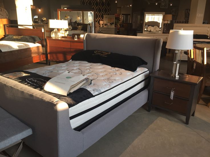 In love with this sleigh bed! Just like our other upholstered pieces, you have different fabric options as well as headboard and footboard styles #sleigh #bed #upholstered #midcentury #modern #contemporary #interior #design #home #decor