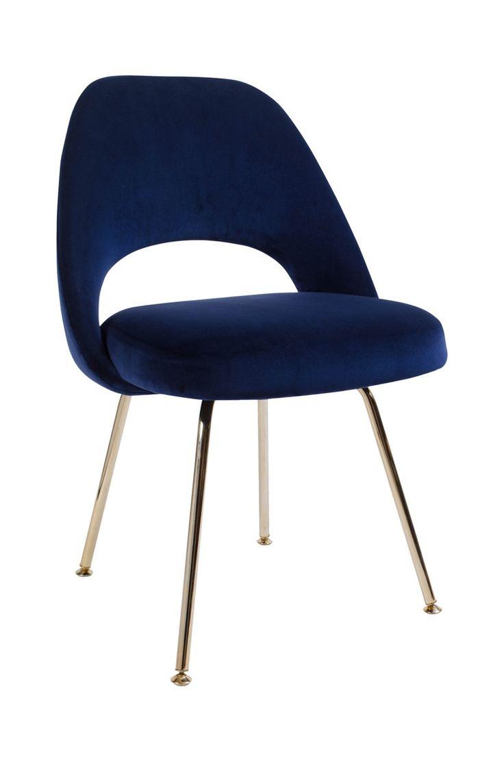 Saarinen Executive Armless Chair in Navy & Gold