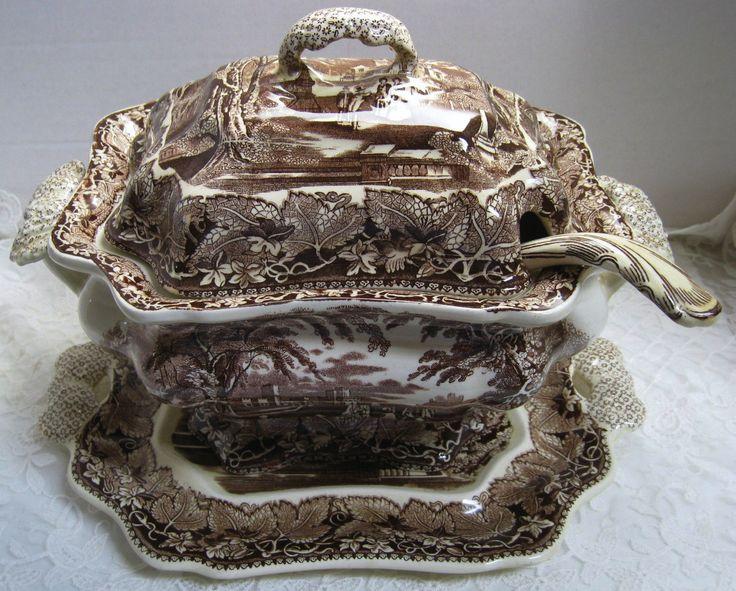 Vintage English #Ironstone Brown #Transferware Soup Tureen ...