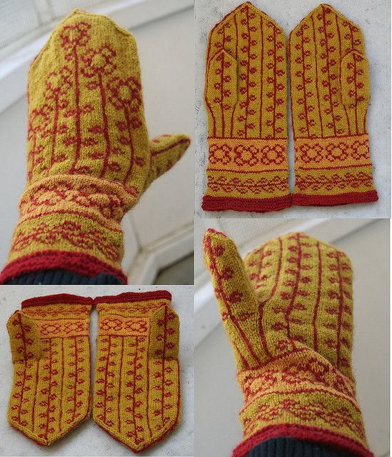 Vinterblomster mittens by Morkland, via Flickr  Free pattern